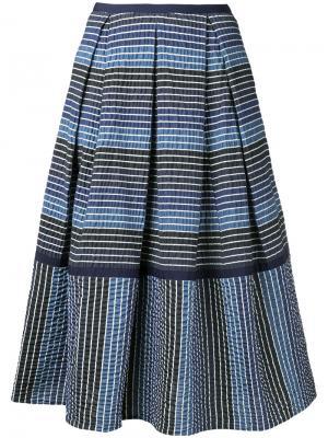 Полосатая юбка миди Erdem. Цвет: синий