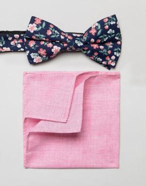 MOSS BROS Галстук-бабочка с цветочным принтом и платок-паше розового цвета. Цвет: розовый