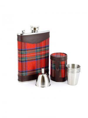 Набор S.Quire: фляга, стаканчики 36 мл и воронка d  40 мм S.QUIRE. Цвет: коричневый, серебристый, красный
