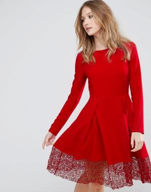 Traffic People Приталенное платье с длинными рукавами и кружевной вставкой Pe. Цвет: красный