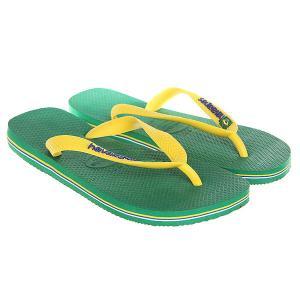 Вьетнамки  Brasil Logo Green/Yellow Havaianas. Цвет: зеленый,желтый