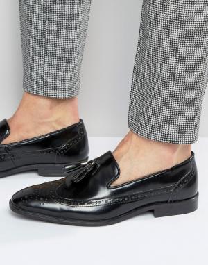 ASOS Черные кожаные лоферы‑броги с кисточками. Цвет: черный