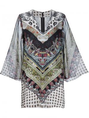 Платье-кафтан с комбинированным принтом Alice+Olivia. Цвет: многоцветный