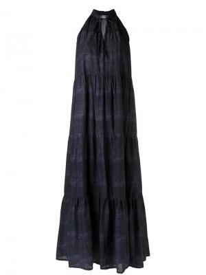 Длинное платье с панельным дизайном Amir Slama. Цвет: синий