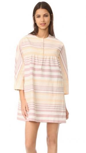 Мини-платье на пуговицах спереди Mara Hoffman. Цвет: sand полоску