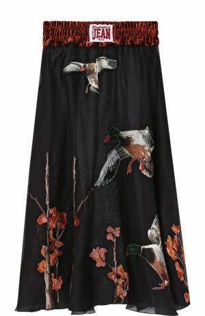 Шелковая юбка-миди с принтом эластичным поясом Stella Jean. Цвет: черный