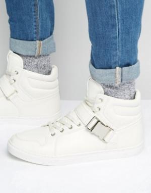 ASOS Белые высокие кроссовки с ремешками. Цвет: белый
