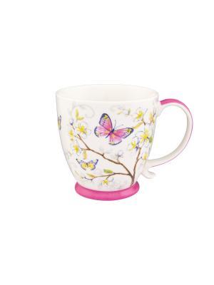 Кружка Бабочки в яблоне Elan Gallery. Цвет: желтый, белый, розовый