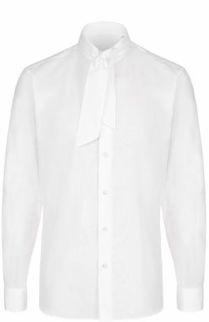 Хлопковая рубашка с воротником-галстуком Caruso. Цвет: белый