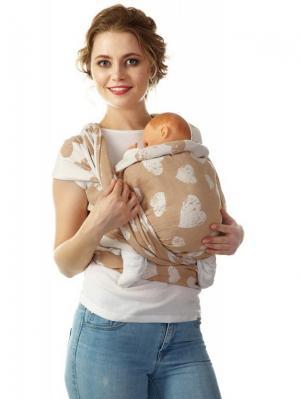 Слинг-шарф Сердца, long Mum`s Era. Цвет: светло-коричневый, молочный