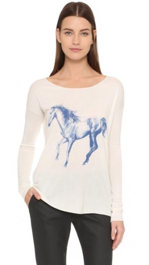 Футболка Running Horse с длинными рукавами Tess Giberson. Цвет: белый/синий