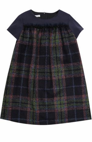 Мини-платье из шерсти с принтом и оборкой I Pinco Pallino. Цвет: разноцветный