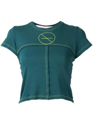 Укороченная футболка с простроченной отделкой Eckhaus Latta. Цвет: зелёный