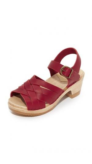 Клоги в стиле гуарачи на среднем каблуке No.6. Цвет: красный