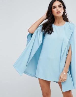 Unique 21 Цельнокройное платье с кейпом. Цвет: синий