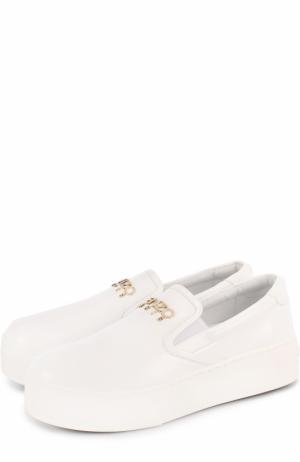 Кожаные слипоны с логотипом бренда Kenzo. Цвет: белый