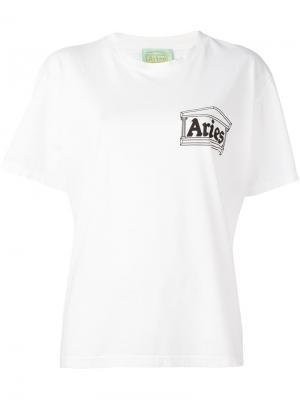 Футболка с принтом логотипа Aries. Цвет: белый