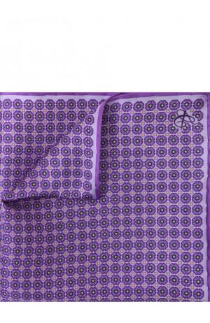 Шелковый платок с узором Canali. Цвет: фиолетовый