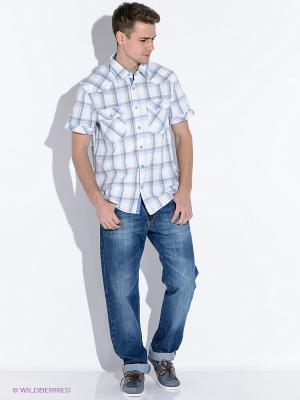 Рубашка Westrenger. Цвет: голубой, белый
