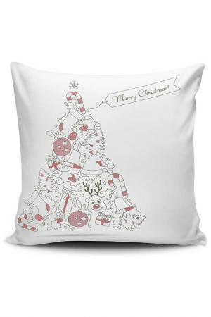 Декоративная подушка CHRISTMAS - DECORATION. Цвет: белый