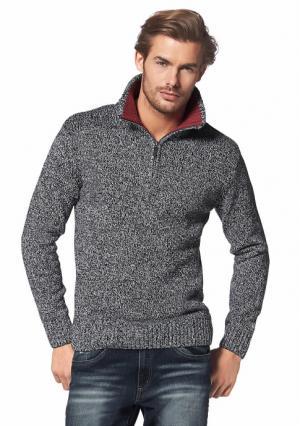 Пуловер поло Rhode Island. Цвет: темно-синий/цвет белой шерсти, цвет белой шерсти