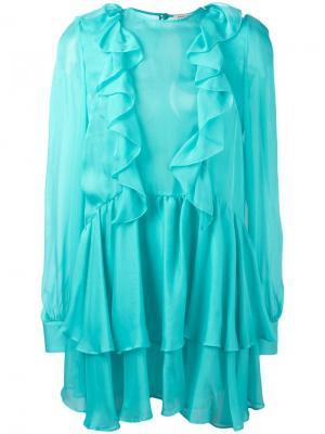 Полупрозрачное мини-платье с оборками Daniele Carlotta. Цвет: синий