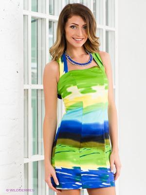Платье Marlen. Цвет: синий, светло-зеленый, желтый