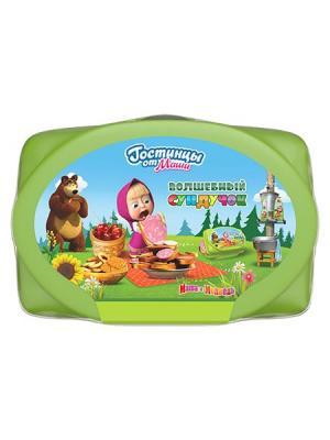 Подарочный набор Волшебный сундучок (Шампунь Липовый цвет 240 мл, Бальзам цвет, 190 мл) Маша и медведь. Цвет: светло-зеленый
