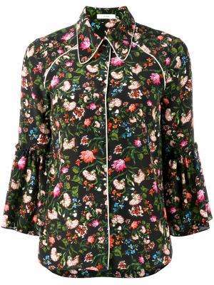 Рубашка с цветочным принтом Aran Erdem. Цвет: чёрный