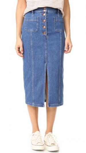 Джинсовая юбка с высоким разрезом Madewell. Цвет: lena wash