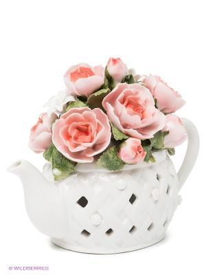 Музыкальная композиция Чайник с цветами Pavone. Цвет: белый, бледно-розовый, зеленый