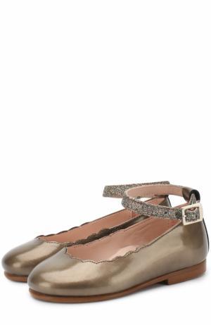 Кожаные туфли на ремешке с глиттером Beberlis. Цвет: хаки