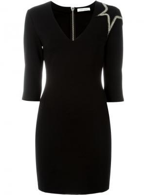 Платье с аппликацией зведы Pierre Balmain. Цвет: чёрный