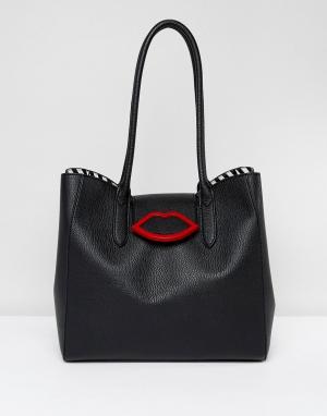Lulu Guinness Черная сумка-тоут с откидным верхом. Цвет: черный
