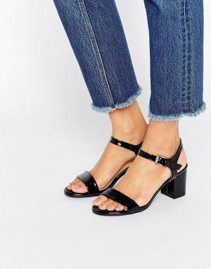 Raid Черные сандалии на среднем каблуке Clare. Цвет: черный
