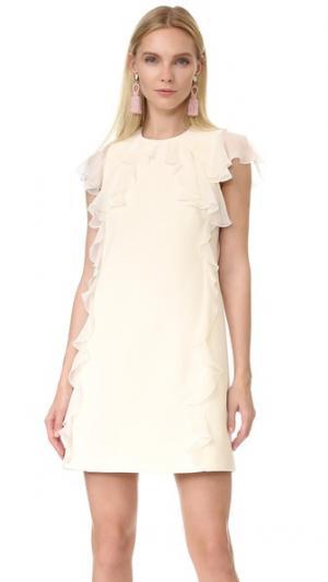 Платье без рукавов с оборками Giambattista Valli. Цвет: белый