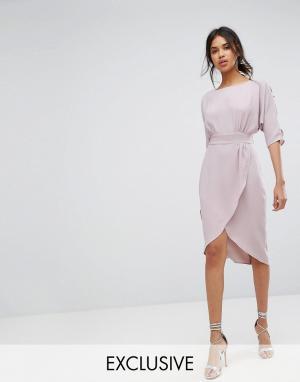 Closet London Платье с запахом и пуговицами на рукавах. Цвет: серый