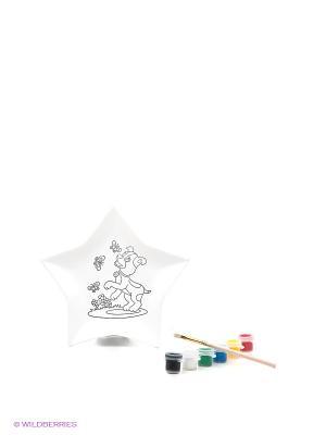 Набор для росписи керамической тарелки Звезда Лавка Чудес. Цвет: белый