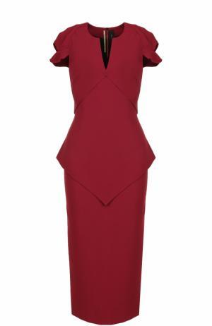 Платье-футляр с V-образным вырезом и коротким рукавом Roland Mouret. Цвет: красный