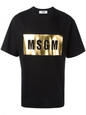 Футболка с логотипом металлик MSGM. Цвет: чёрный