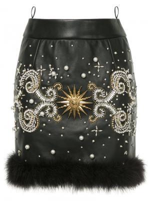 Декорированная юбка миди Fausto Puglisi. Цвет: чёрный
