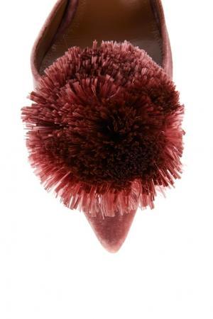 Бархатные туфли Powder Puff Sling 105 Aquazzura. Цвет: розовый