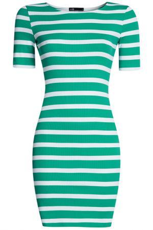 Платье трикотажное oodji. Цвет: темно-зеленый, белый