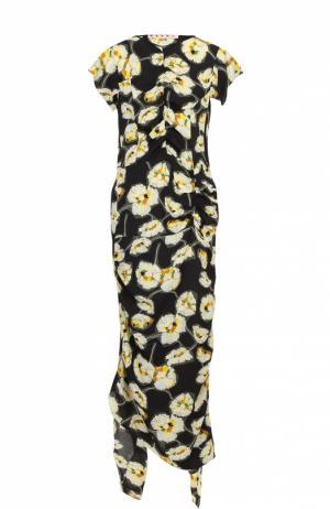 Платье-макси асимметричного кроя с цветочным принтом Marni. Цвет: черный