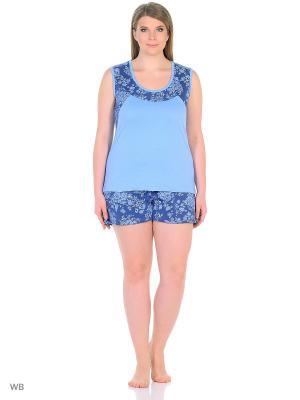 Пижама-майка, шорты NAGOTEX. Цвет: голубой