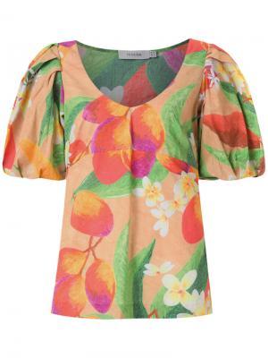 Блузка с объемными рукавами Isolda. Цвет: жёлтый и оранжевый