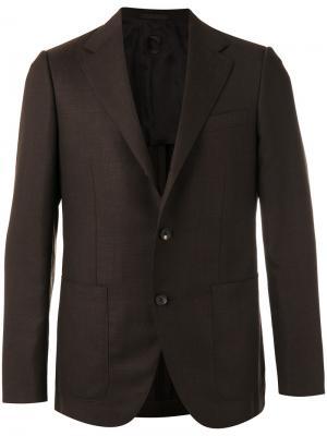 Пиджак с карманами спереди Caruso. Цвет: коричневый