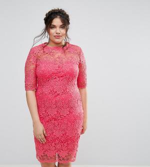 Paper Dolls Plus Кружевное платье‑футляр. Цвет: розовый