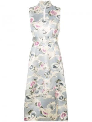 Платье-миди с рисунком из хризантем Co. Цвет: телесный
