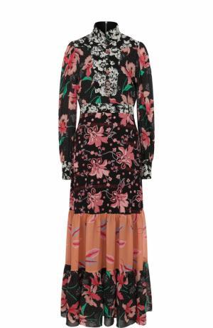 Приталенное платье-макси с воротником-стойкой и принтом Gucci. Цвет: разноцветный